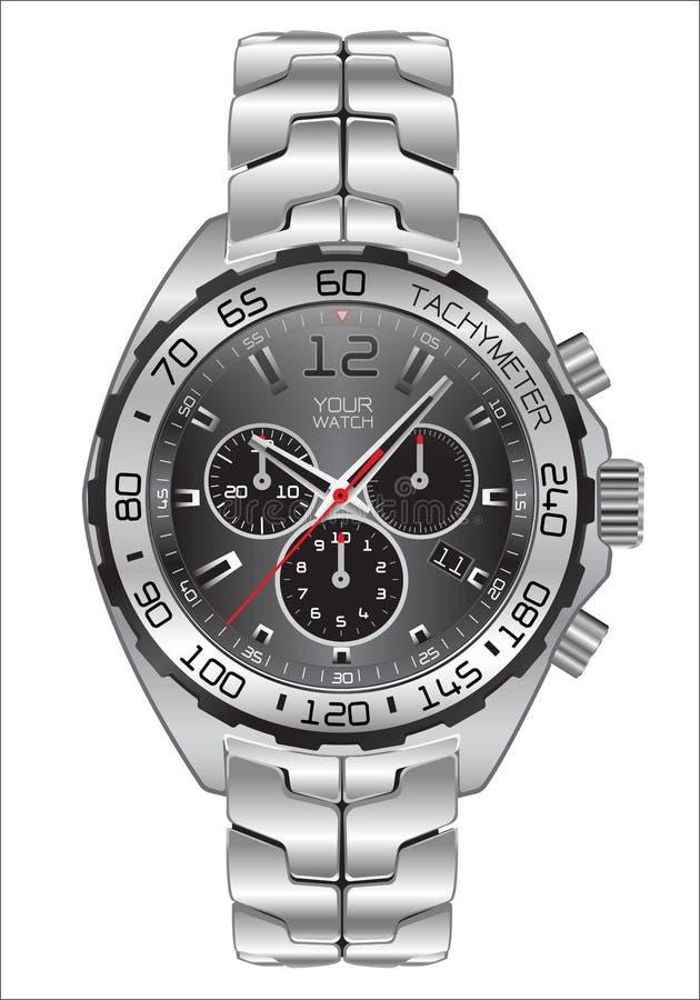 Реалистическая темнота хронографа часов вахты - серый дизайн шкалы для моды людей на белом векторе предпосылки бесплатная иллюстрация