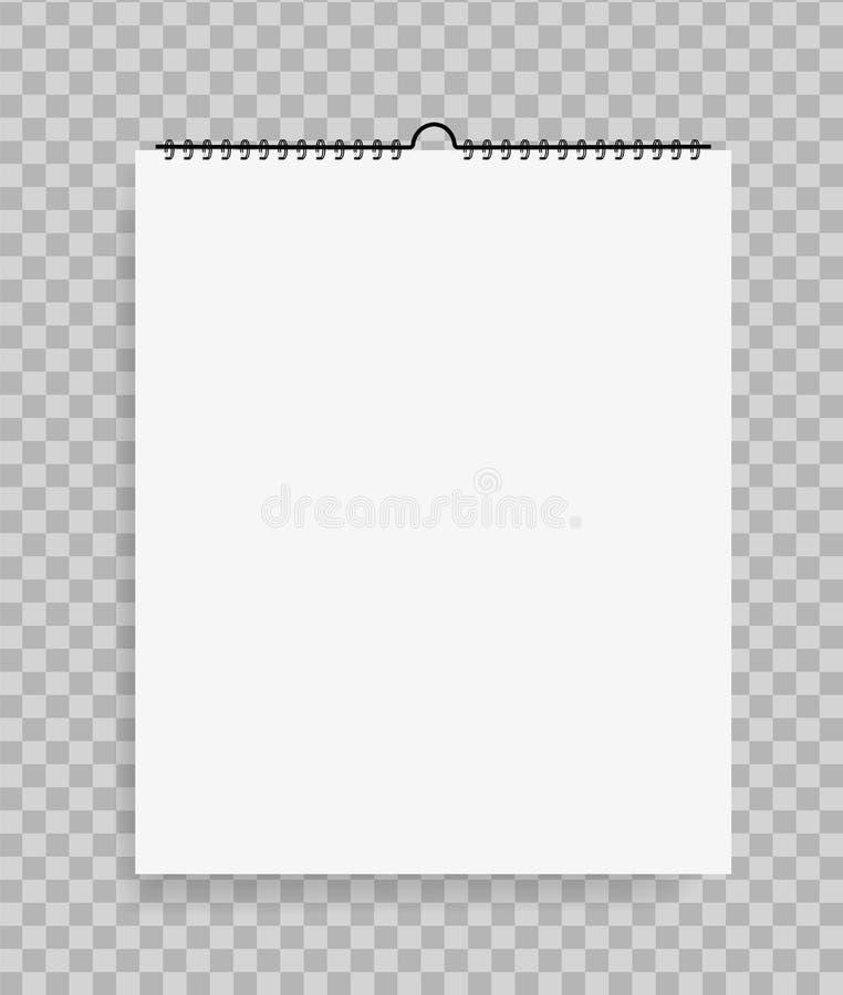 Реалистическая тетрадь в стиле модель-макета Пустой блокнот со спиралью Шаблон пустого sketchbook на изолированной предпосылке r иллюстрация штока