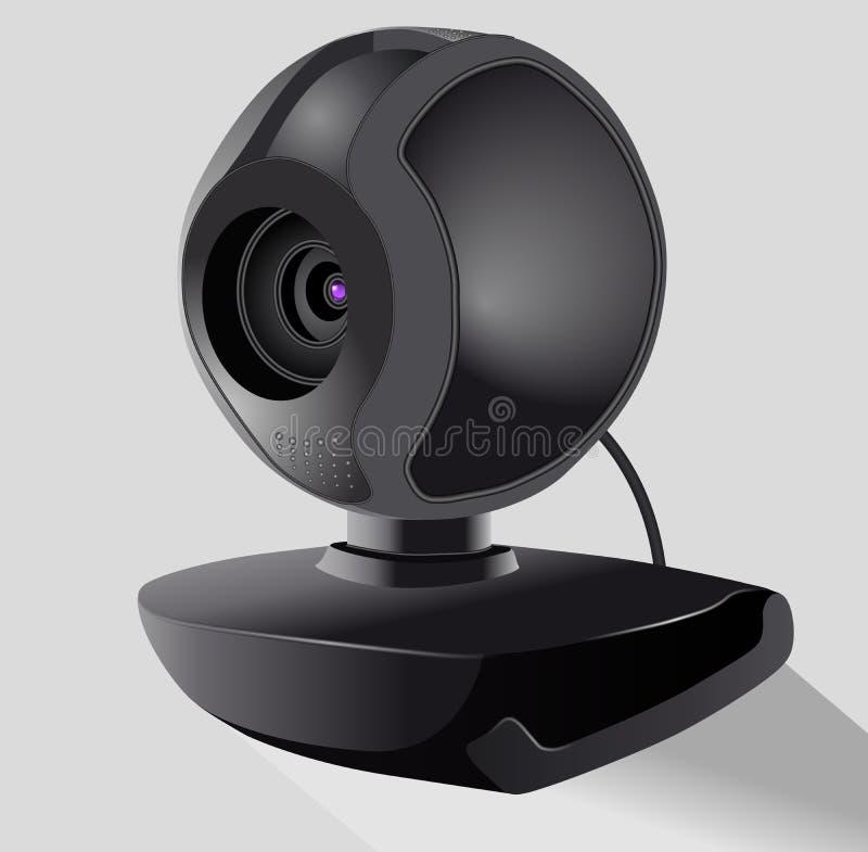 Реалистическая черная веб-камера Концепция безопасностью и технологией E Равновеликий иллюстрация вектора