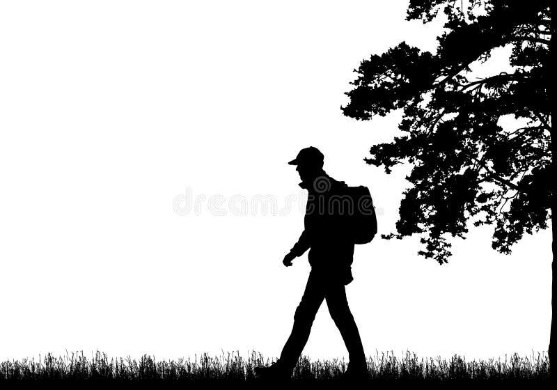 Реалистическая черная иллюстрация идя туриста с рюкзаком, травой и высоким деревом Изолированный на белой предпосылке, с космосом иллюстрация вектора