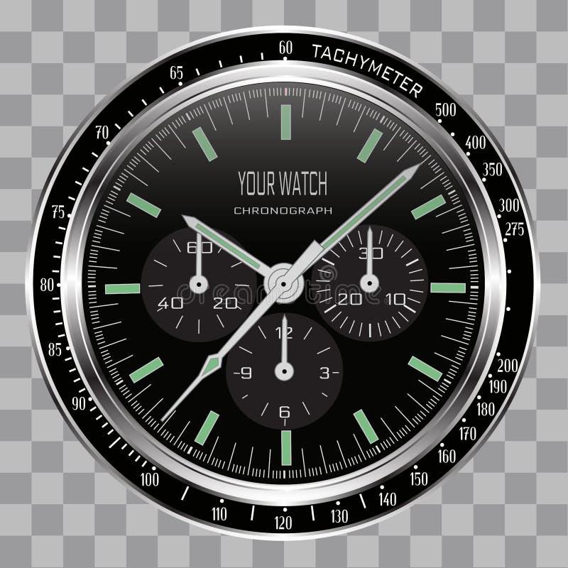 Реалистическая шкала черноты нержавеющей стали стороны хронографа часов вахты на checkered векторе предпосылки картины иллюстрация вектора