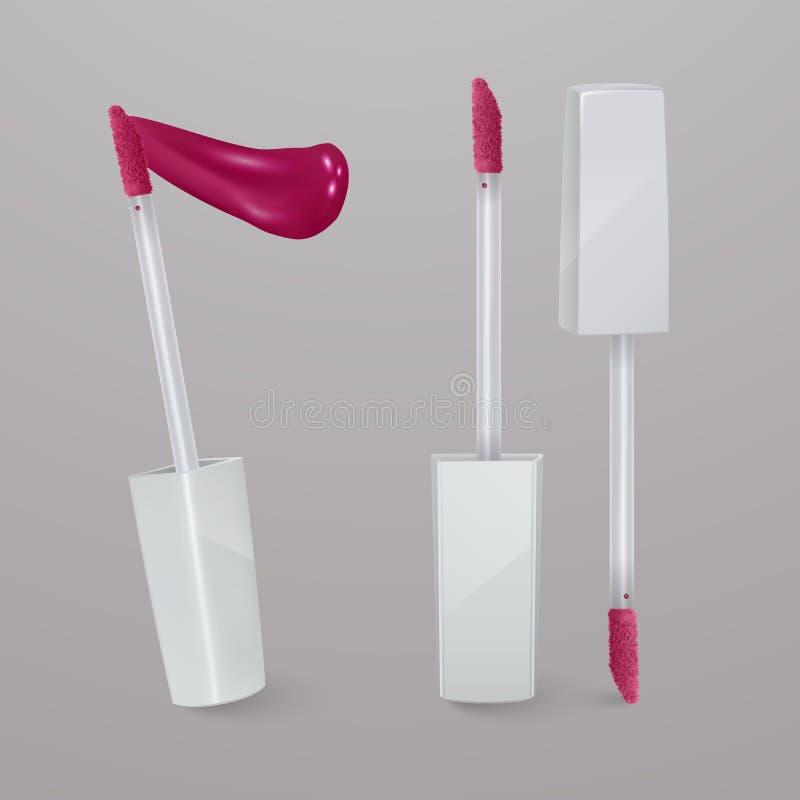 Реалистическая, яркая розовая жидкостная губная помада с ходом губной помады 3d иллюстрация, ультрамодный косметический дизайн дл бесплатная иллюстрация