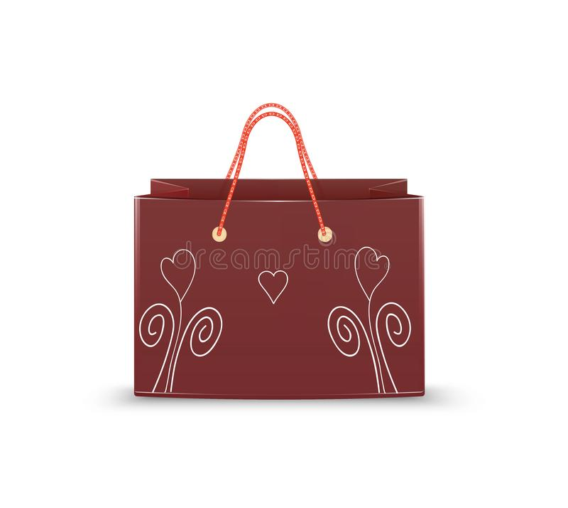 Реалистическая vinous бумажная сумка с сердцами нарисованными рукой белыми на белой предпосылке, неудача валентинки s, иллюстрация штока