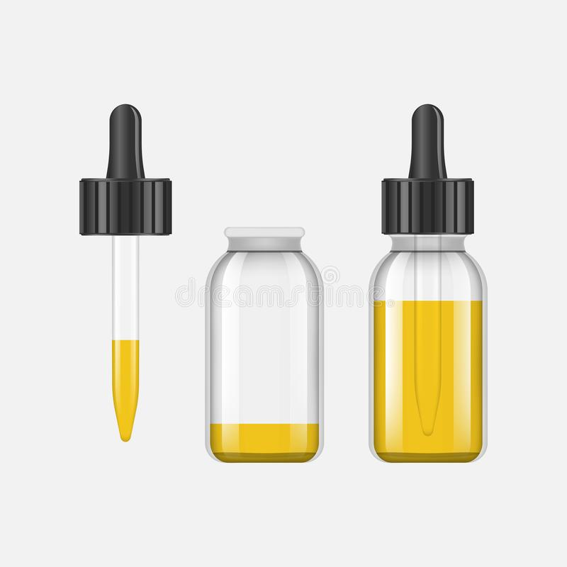 Реалистические бутылки глумятся вверх с вкусами для электронной сигареты с различными вкусами плодоовощ Бутылка капельницы с иллюстрация штока