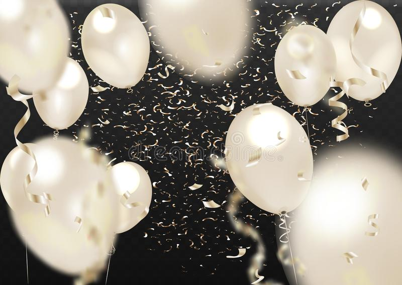Реалистические воздушные шары и золотой confetti изолированные на прозрачной предпосылке r иллюстрация вектора