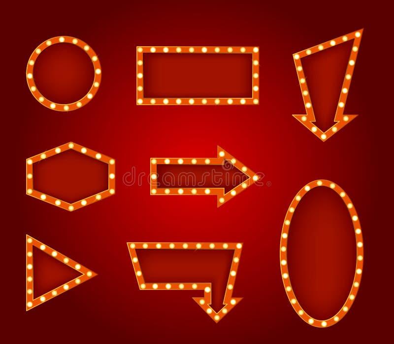 Реалистические детальные накаляя установленные знаки 3d вектор иллюстрация штока