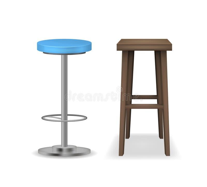 Реалистические детальные установленные барные стулы 3d вектор иллюстрация вектора