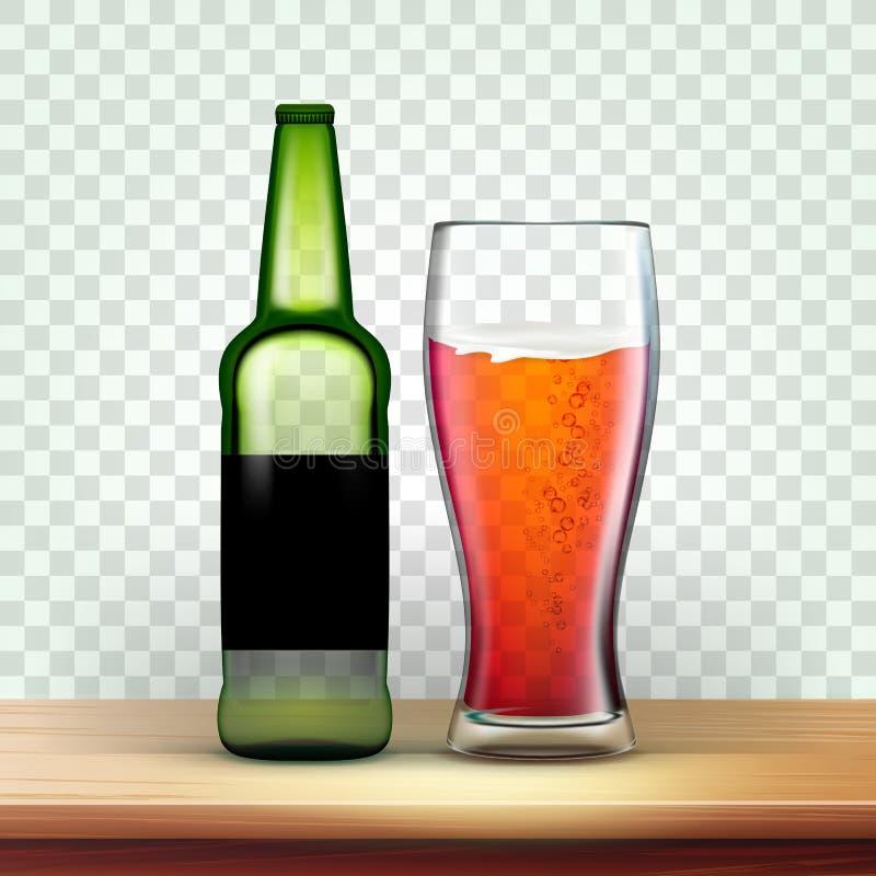 Реалистические зеленые бутылка и стекло с вектором пива иллюстрация вектора