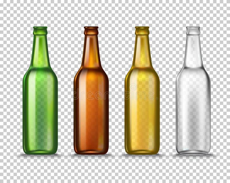 Реалистические зеленые, коричневые, желтые и белые пустые стеклянные пивные бутылки на прозрачной предпосылке вектор бесплатная иллюстрация