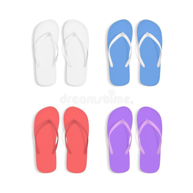 Реалистические красочные установленные сандалии тапочек пляжа темповых сальто сальто 3d вектор иллюстрация вектора