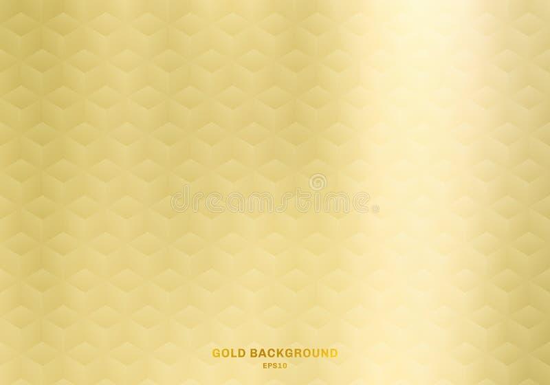 реалистические кубы 3D делают по образцу геометрические предпосылку и текстуру цвета градиента золота симметрии Роскошный стиль бесплатная иллюстрация