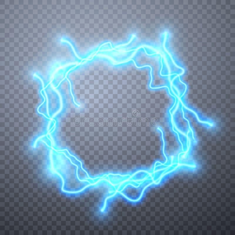 Реалистические молнии с прозрачностью для дизайна Влияние цифров накалять, электрическая разрядка, украшение дизайна r иллюстрация штока