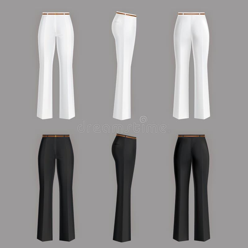 реалистические официально брюки для женщин иллюстрация вектора