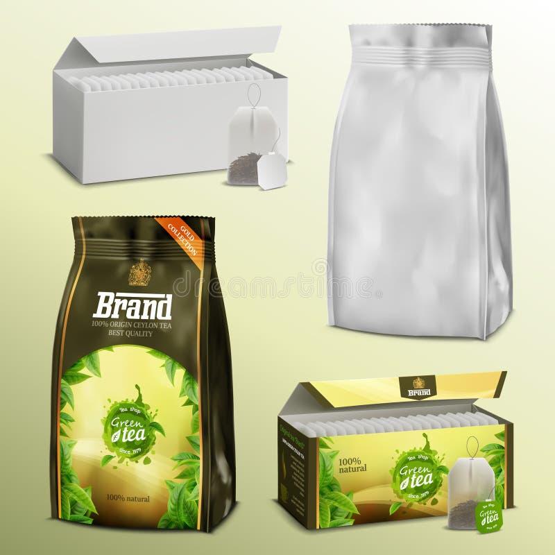 реалистические пакетики чая белой бумаги пробела набора 3D и свободные коробки и примеры пакетов листьев с готовым дизайном иллюстрация вектора