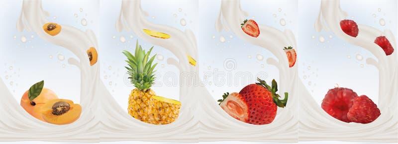 Реалистические плоды клубника, абрикос, ананас, поленика с молоком брызгают близкую вверх r Установленное молоко иллюстрация штока