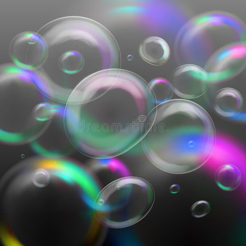 Реалистические прозрачные пузыри мыла иллюстрация вектора