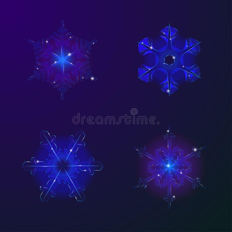 Реалистические снежинки вектора стоковые фотографии rf