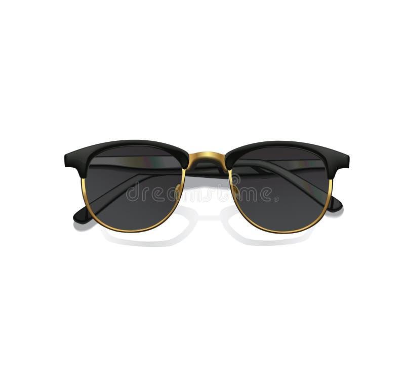 Реалистические солнечные очки вектора моды при тень изолированная на белой предпосылке бесплатная иллюстрация