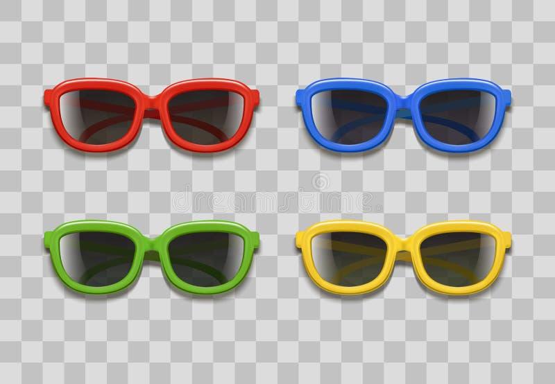 Реалистические солнечные очки цвета 3d чернят объективы на прозрачной предпосылке вектор бесплатная иллюстрация