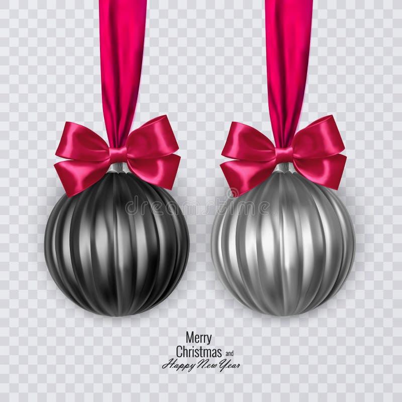Реалистические черно-белые шарики с красным смычком на зеленой предпосылке, украшения рождества рождества вектора бесплатная иллюстрация
