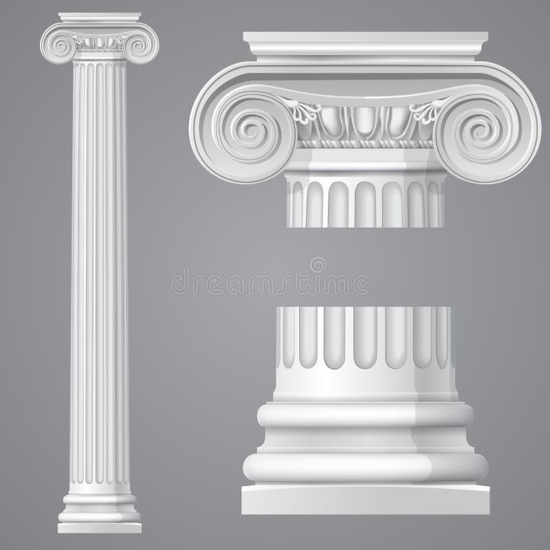 Реалистический античный ионный изолированный столбец иллюстрация штока