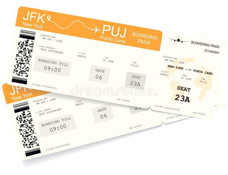 Реалистический вариант билета посадочного талона бесплатная иллюстрация