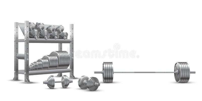Реалистический вектор фитнеса на белой предпосылке олимпийской штанги, стальных dumbbels и полки хранения с плитами штанги веса бесплатная иллюстрация