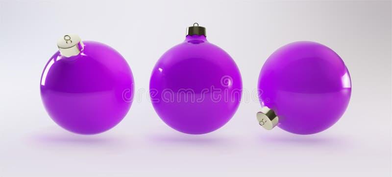 Реалистический вектор 3D Шарик пурпура, рождества украшенный с реалистическим смычком сирени и сияющее r EPS10 бесплатная иллюстрация