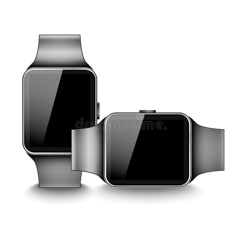 Реалистический вертикальный и горизонтальный умный вахта при черный экран изолированный на белой предпосылке вектор экрана иллюст иллюстрация вектора