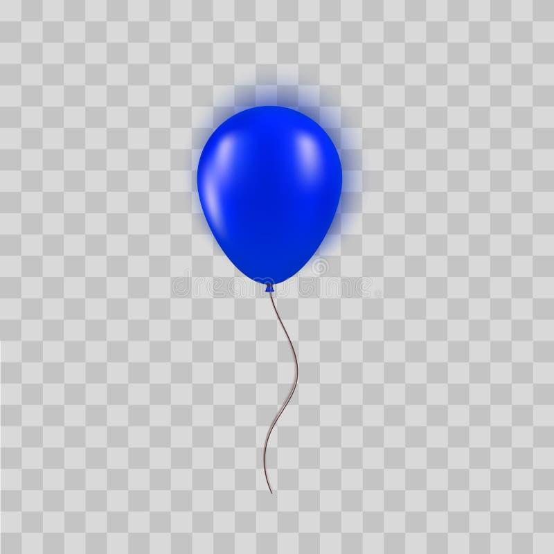 Реалистический голубой воздушный шар изолированный на прозрачной предпосылке Элемент дизайна для дня рождения, торжественного отк бесплатная иллюстрация