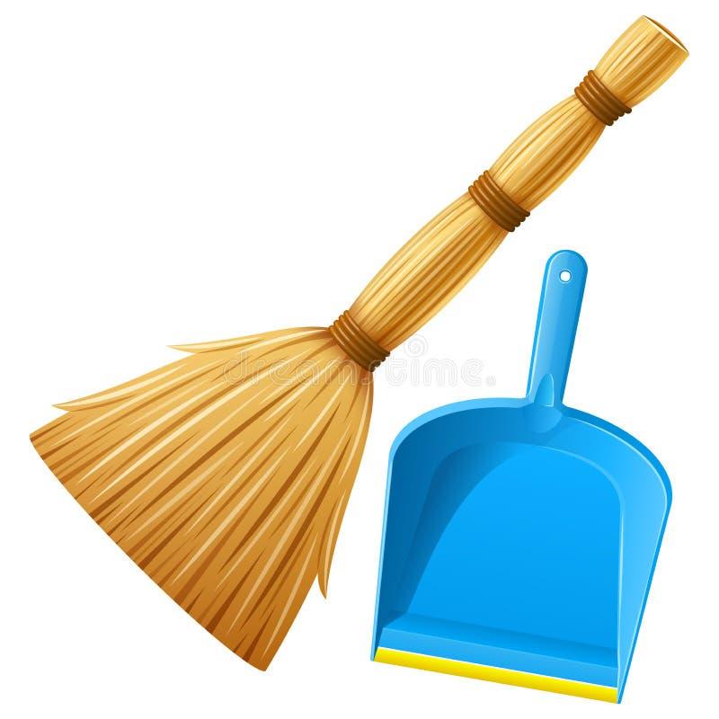 Реалистический голубой пластиковый dustpan с веником для очищая отброса также вектор иллюстрации притяжки corel иллюстрация штока