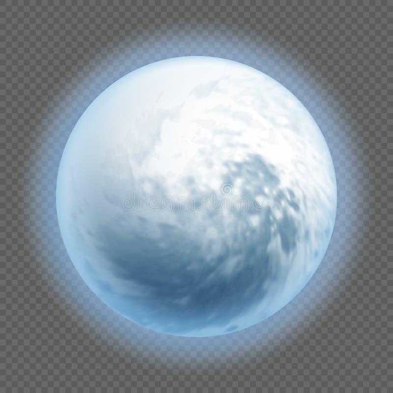 Реалистический детализировал полностью большую голубую луну изолированную на прозрачной предпосылке Концепция ночи ужаса Объект х бесплатная иллюстрация