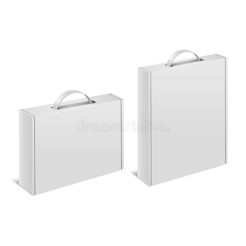 Реалистический детальный белый пустой набор модель-макета шаблона ручки случая коробки 3d r иллюстрация вектора