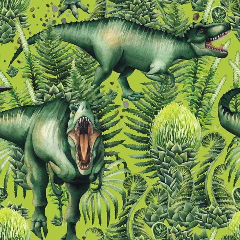 Реалистический динозавр акварели иллюстрация вектора