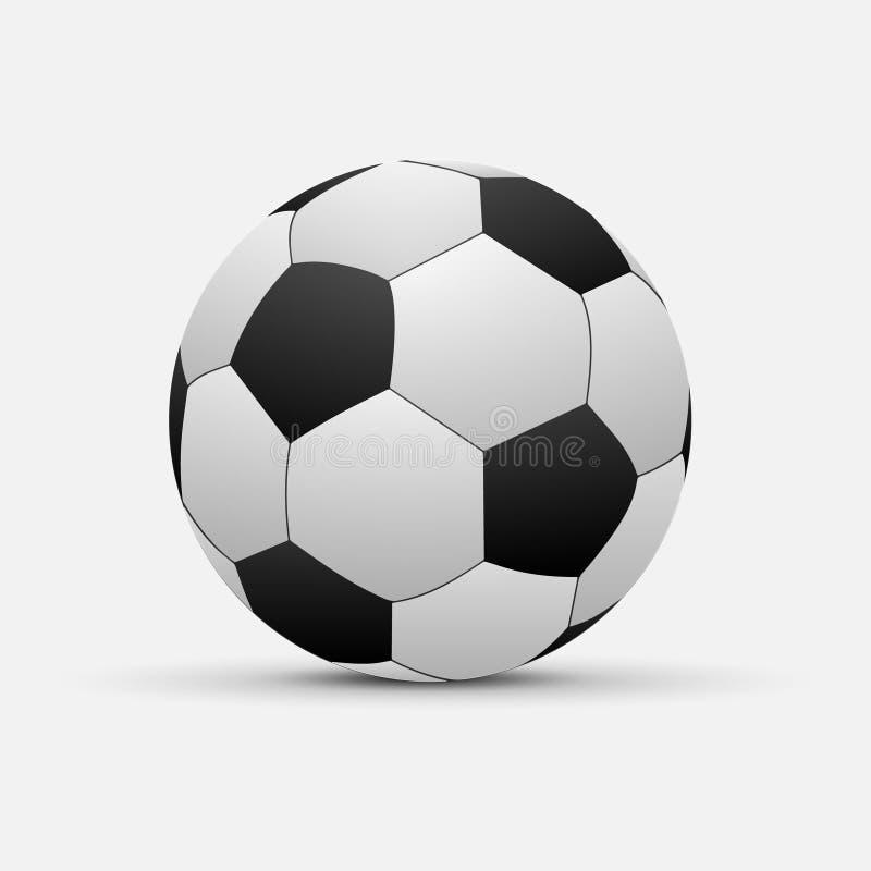 Реалистический изолированный футбольный мяч иллюстрация штока