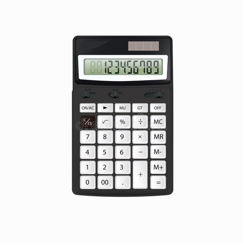 Реалистический калькулятор черноты вектора при белые кнопки изолированные на белой предпосылке стоковые фотографии rf