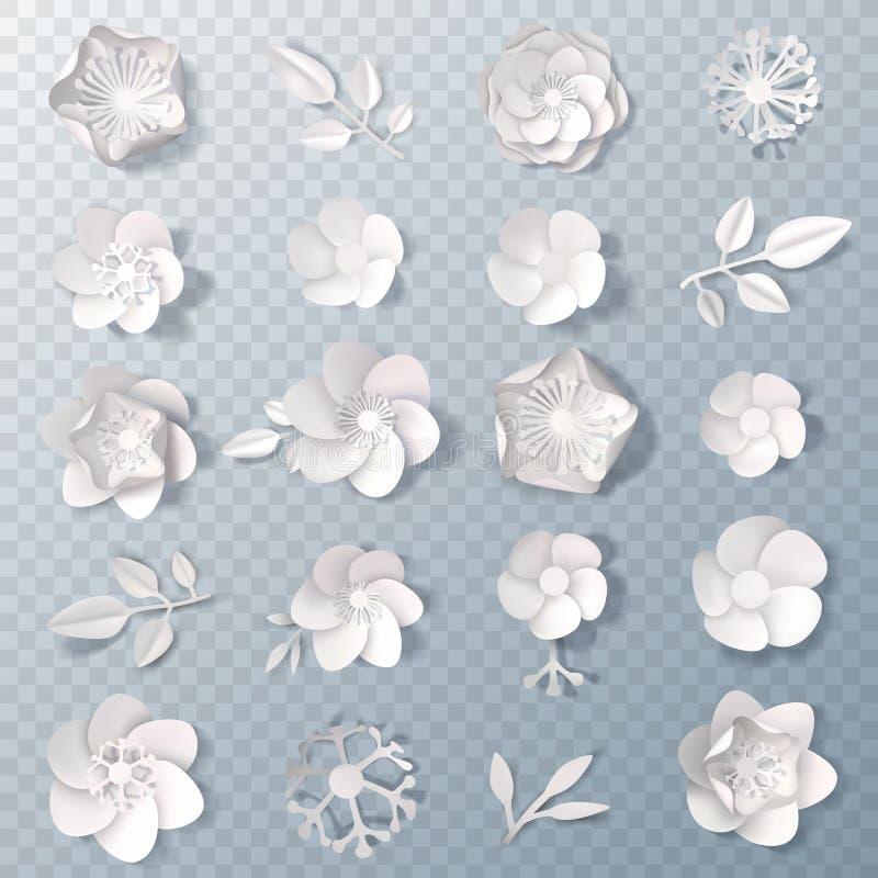 Реалистический комплект бумажных цветков прозрачный иллюстрация вектора