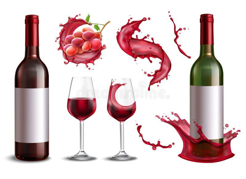Реалистический комплект выплеска вина иллюстрация штока