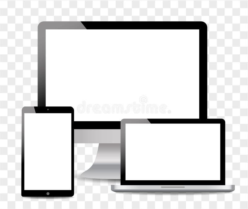 Реалистический компьютер, ноутбук, планшет касания в стиле модель-макета Современные приборы на изолированной предпосылке r бесплатная иллюстрация