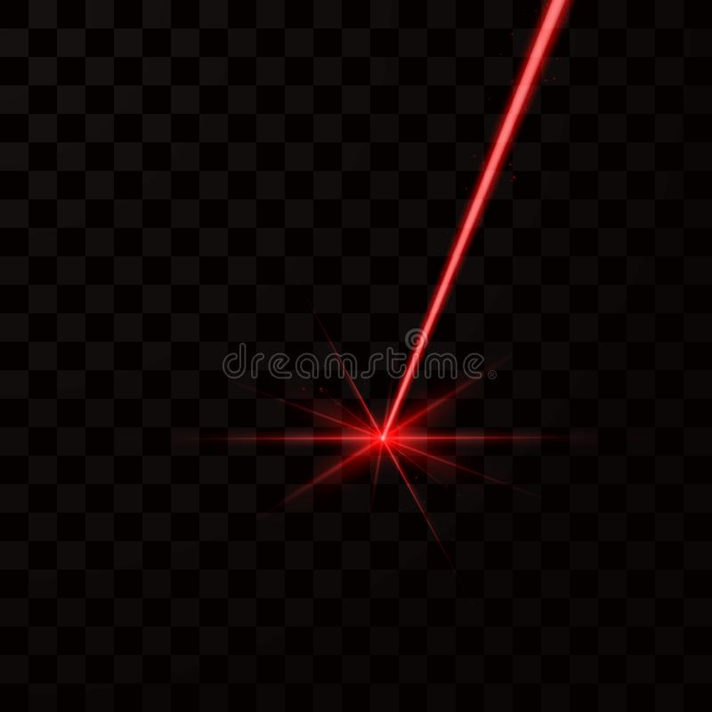 Реалистический красный лазерный луч Световой луч красного света Иллюстрация вектора изолированная на темной предпосылке иллюстрация штока