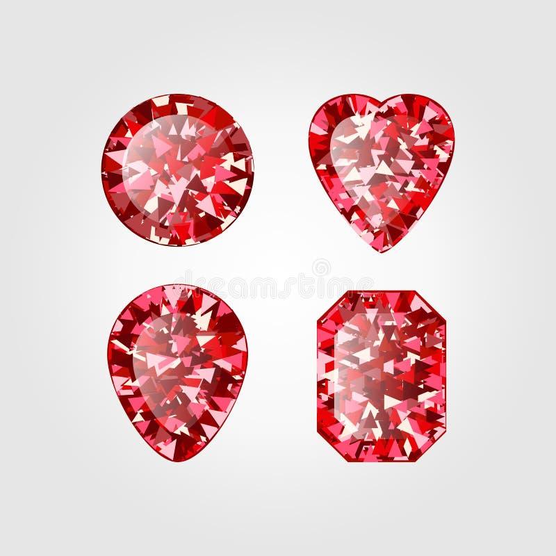 Реалистический красный рубиновый диамант на белой предпосылке Иллюстрация вектора драгоценной камня шарлаха иллюстрация штока