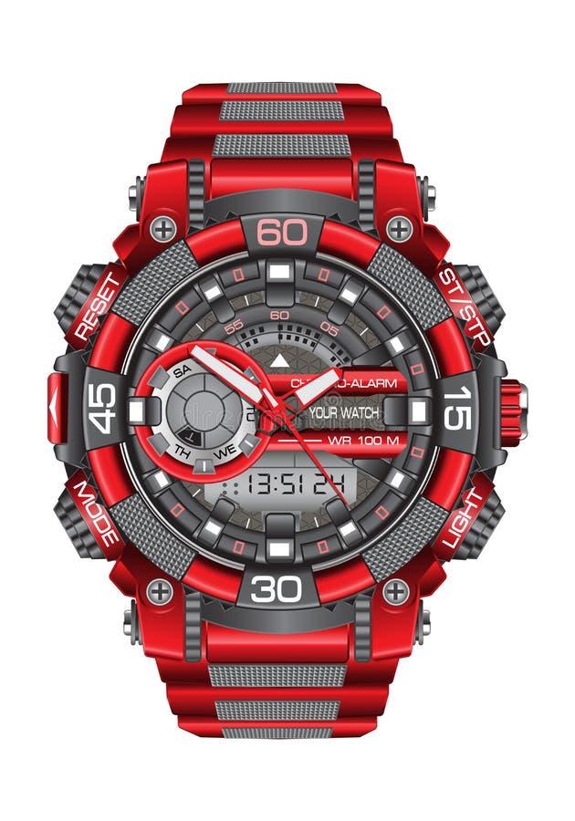 Реалистический красный серый спорт хронографа часов дозора современный для людей на белом векторе предпосылки иллюстрация вектора