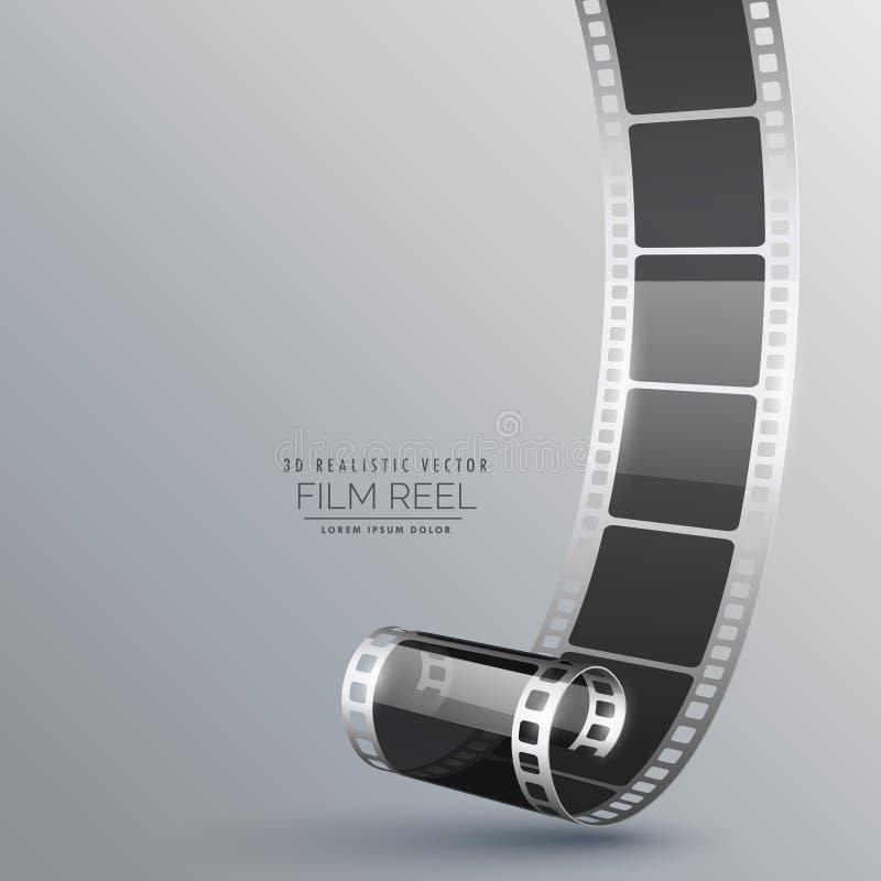 Реалистический крен фильма 3d на серой предпосылке бесплатная иллюстрация