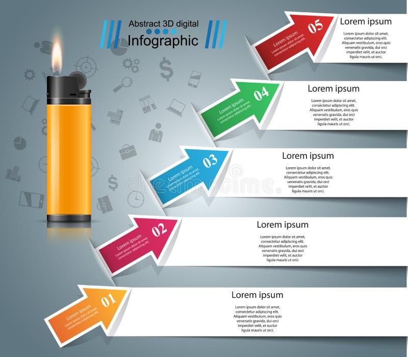 Реалистический лихтер - дело infographic и значок маркетинга иллюстрация штока