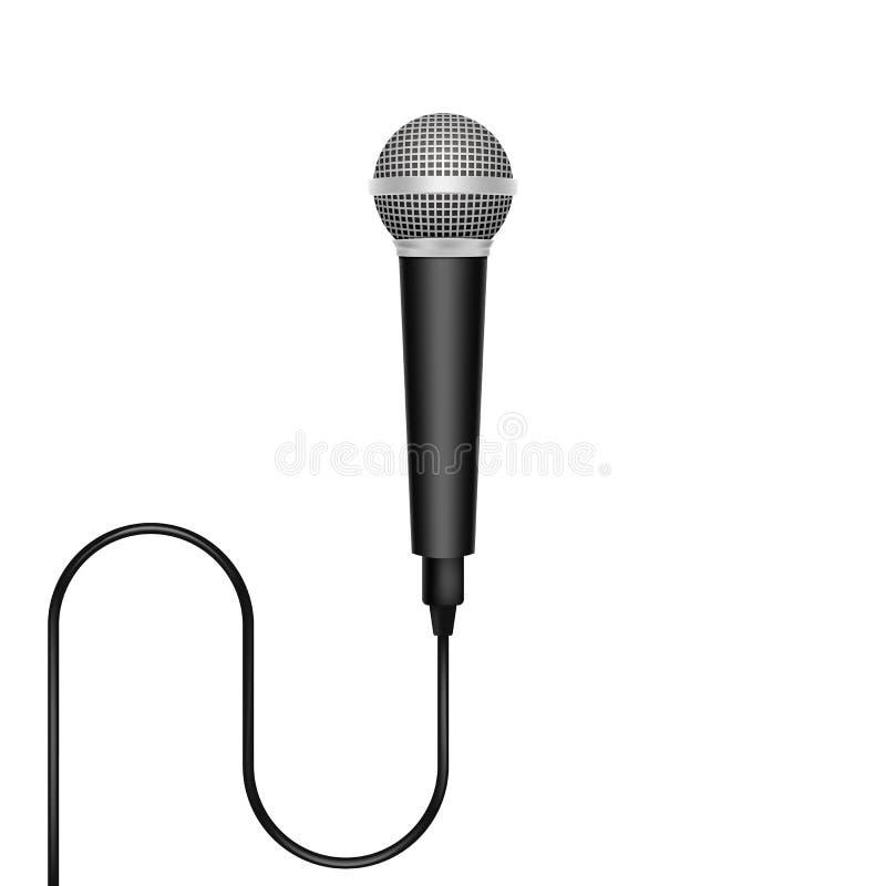 Реалистический микрофон изолированный на белой предпосылке также вектор иллюстрации притяжки corel иллюстрация штока
