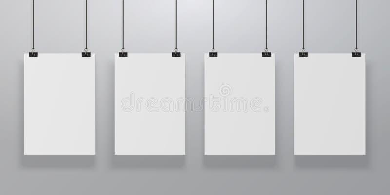 Реалистический модель-макет плаката Чистый лист бумаги вися на связывателях на стене, пустом плакате бумаги A4 закрепленном на ве иллюстрация вектора