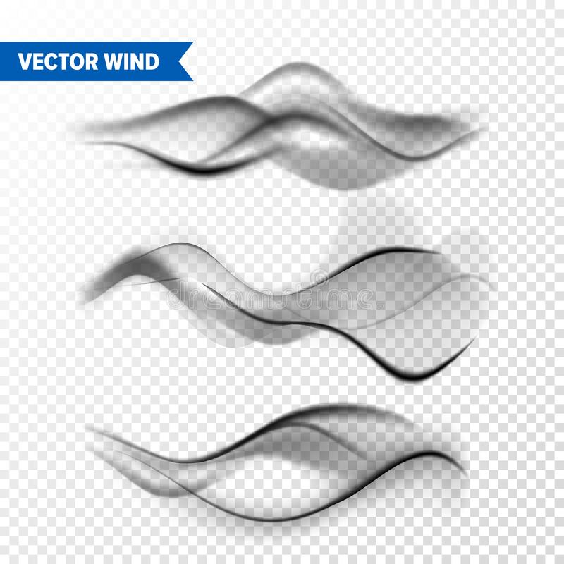 Реалистический набор ветра на прозрачной предпосылке Пар вектора в воздухе, подаче пара дыма Туман, влияние тумана иллюстрация вектора