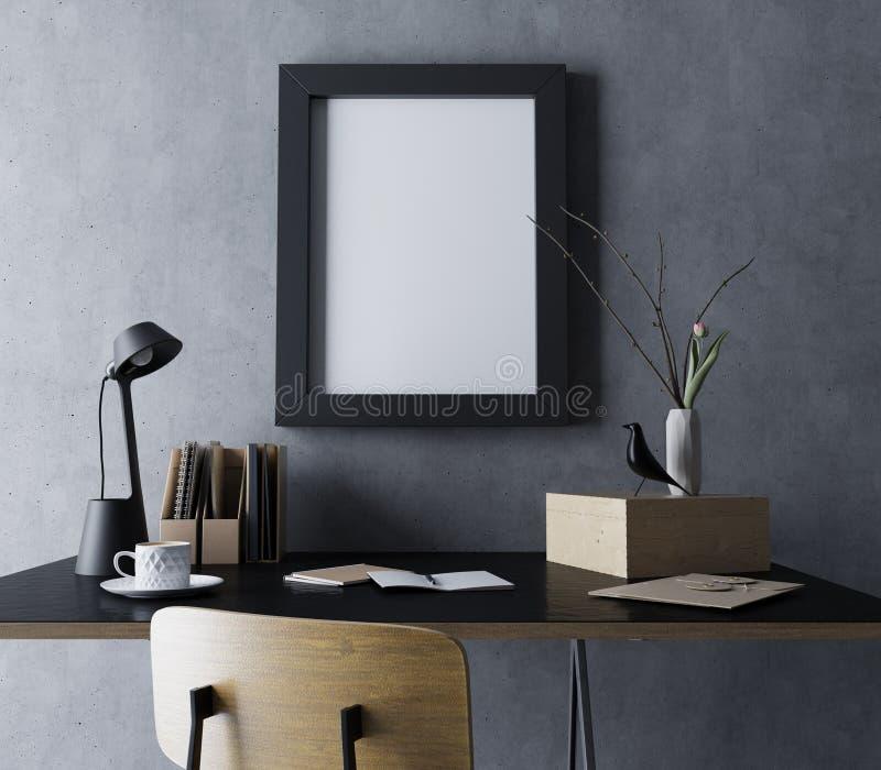 Реалистический насмешливый поднимающий вверх шаблон комнаты рабочего места современного дизайна с пустой рамкой плаката в вертика иллюстрация штока