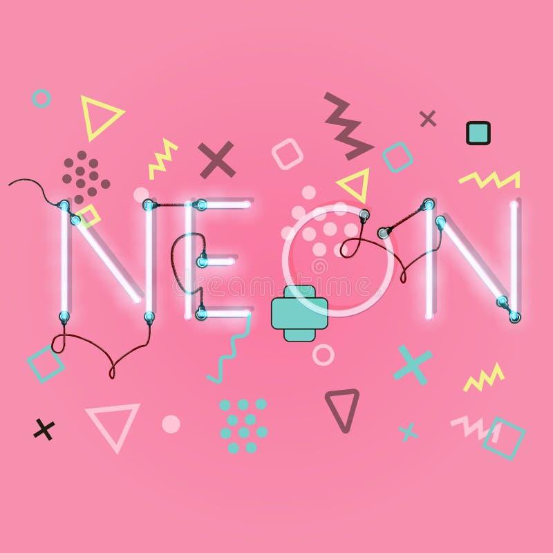 Реалистический неоновый алфавит накалять купели все любые могут различные легко редактируемые графики формы индивидуально наслаив иллюстрация вектора