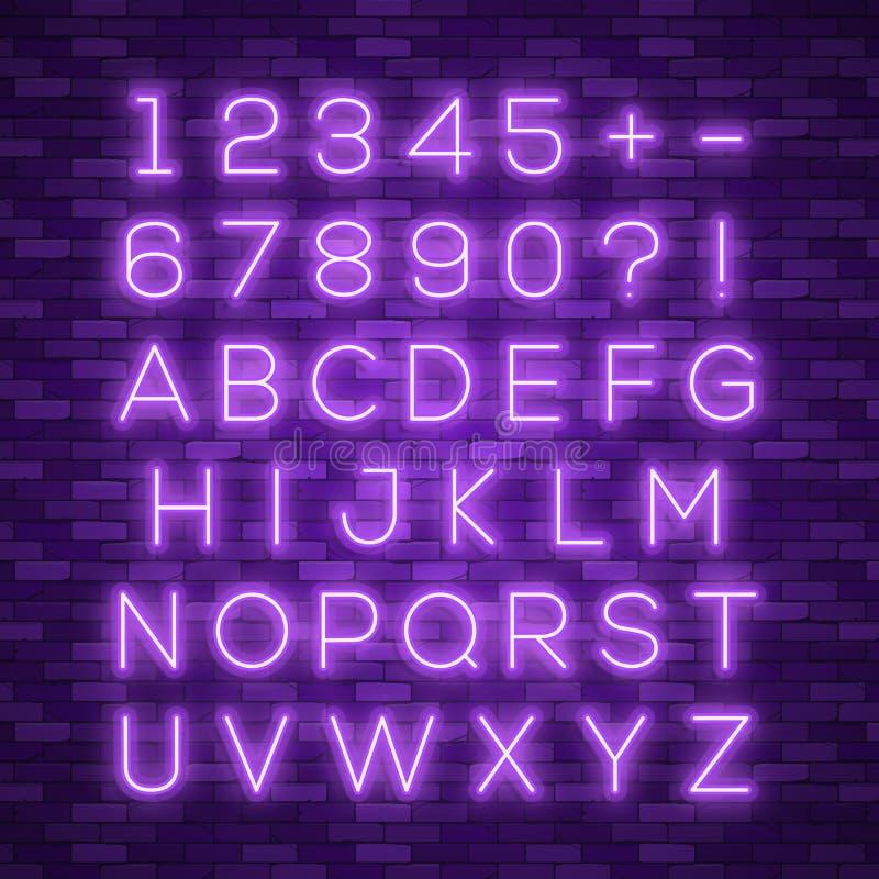 Реалистический неоновый алфавит Яркий неоновый накаляя шрифт иллюстрация штока